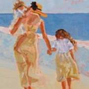 Mother And Two Daughters Art Print by Molly Wright