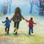 Mother And Two Sons Out For A Walk Art Print