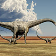 Mother Diplodocus Dinosaur Walks Art Print
