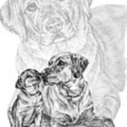 Mother Labrador Dog And Puppy Art Print