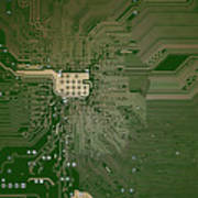 Motherboard Architecture Green Art Print