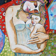 Motherhood - Tribute To Klimt Art Print