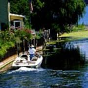 Motor Boat On Canal Art Print