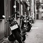Motorbikes Parked On Street In Tokyo, Japan Print by photo by Jason Weddington