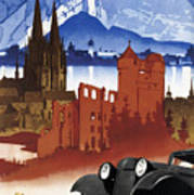 Motoring In Germany - Retro Travel Poster - Vintage Poster Art Print