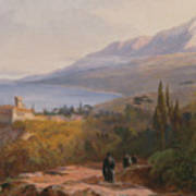 Mount Athos And The Monastery Art Print