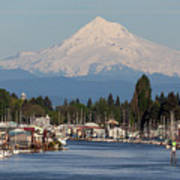Mount Hood And Columbia River House Boats Art Print