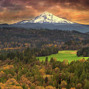 Mount Hood At Sandy River Valley In Fall Art Print