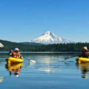 Mount Hood Kayakers Art Print