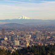Mount Hood Over City Of Portland Oregon Art Print