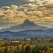 Mount Hood Over Farmland In Hood River In Fall Art Print