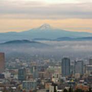 Mount Hood Over Portland Downtown Cityscape Art Print