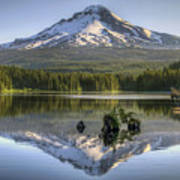 Mount Hood Reflection On Trillium Lake Art Print