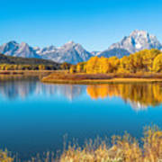 Mount Moran From The Snake River In Autumn Art Print