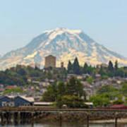 Mount Rainier At Tacoma Waterfront Art Print