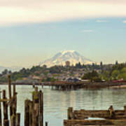 Mount Rainier From City Of Tacoma Washington Waterfront Art Print