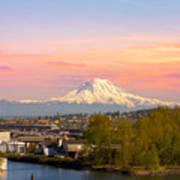 Mount Rainier From Tacoma Marina Art Print