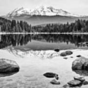 Mount Shasta From Lake Siskiyou In California Art Print