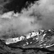 Mount Shasta In Black And White Art Print