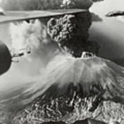 Mount Vesuvius Coughs Up Ash And Smoke Art Print by Us Army Air Forces Official