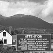Mount Washington Nh Warning Sign Black And White Art Print
