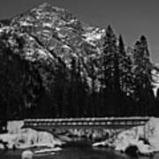 Mountain And Bridge Black And White Art Print