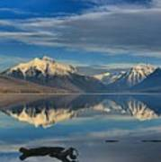 Mountain And Driftwood Reflections Art Print