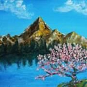 Mountain And Pink Tree Art Print