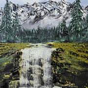 Mountain And Waterfall  Art Print