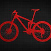 Mountain Bike - Red On Black Art Print