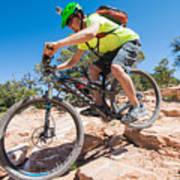 Mountain Biker On The Porcupine Rim Trail Near Moab Art Print