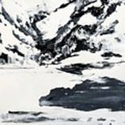 Mountain Lake In Black And White Art Print