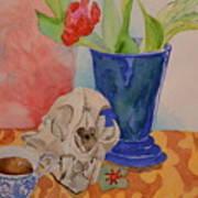 Mountain Lion Skull Tea And Tulips Art Print