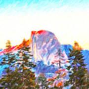 Mountain Range In Yosemite National Park Art Print