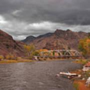 Mountain River Bridge Art Print