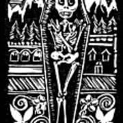Mountain Town Skeleton Art Print