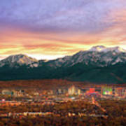 Mountain Twilight Of Reno Nevada Art Print by Vance Fox