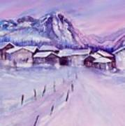 Mountain Village In Snow Art Print