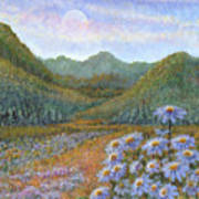 Mountains And Asters Art Print