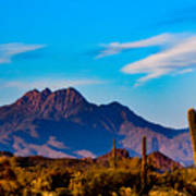Mountains And Cactus Art Print