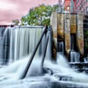 Mousam River Waterfall In Kennebunk Maine Art Print