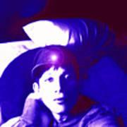 Moveonart Jacob In Blue Light Thinking Art Print