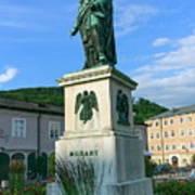 Mozart Statue In Mozartplatz, Salzburg, Austria Art Print