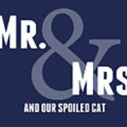 Mr And Mrs And Cat Art Print