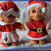Mr And Mrs Santa Troll Art Print