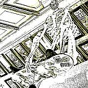 Mr Bones In Black And White With Sepia Tones Art Print