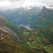 Mt. Dalsnibba And The Serpentine Descent To The Geirangerfjord Art Print