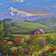 Mt Hood Fantasy Farm Art Print
