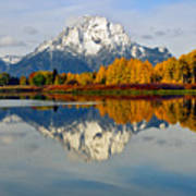 Mt Moran From Ox Bow Bend On A Fall Morning Art Print
