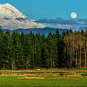 Mt Rainier Moonrise,wa Art Print